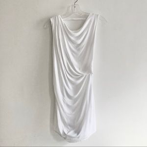 White Helmut Lang draped stretchy dress